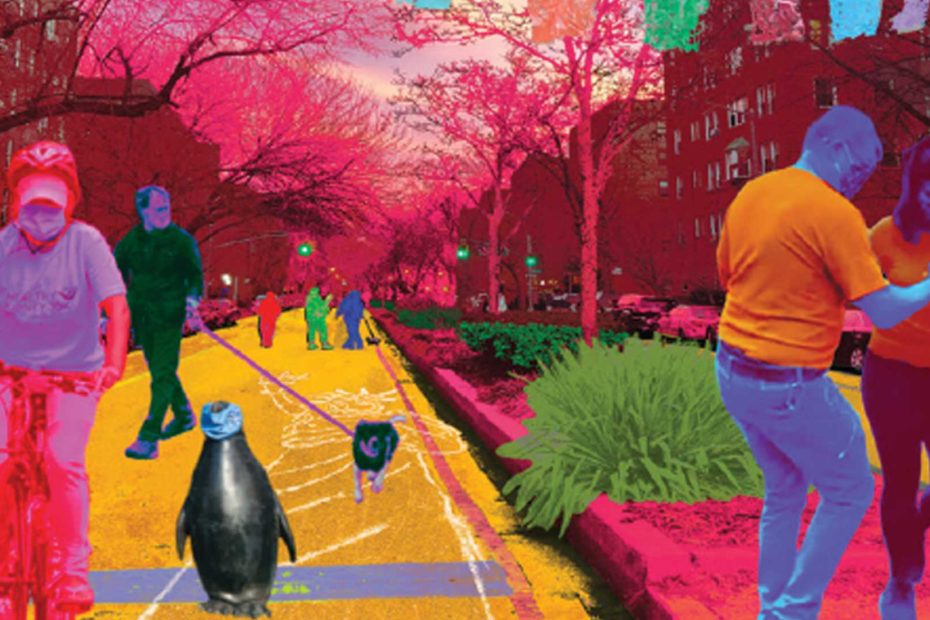 Vibrantly colored collage of people riding bicycles, playing, walking and dancing on 34th avenue